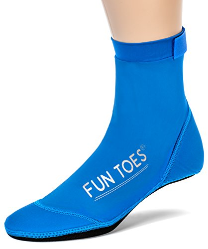 FUN TOES BEACH SOCKS for Volleyball Soccer, Camping, Rafting, Diving and all sand sports (S Kids 4.5-6 / Women 6.5-8, Blue)