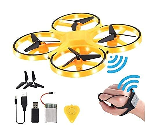 AJVS Drone For Kids With Hand Free Operated Child Mini Drone With Innovative Watch Hand Control Quadcopter Remote Control 360° Flip Action LED Light Toy Aircraft Yellow, blue, green.BB62, Converts into bike also, Drone and Bike COMBO