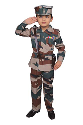Wishing Rack Military Army Fancy Dress Costume for Kids 9-10 Years, Community Worker Costume