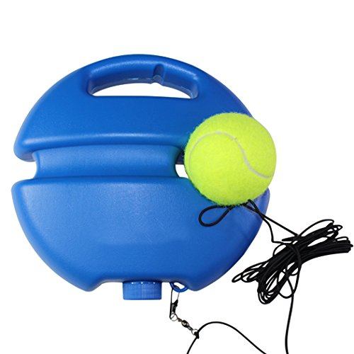 Fansport Tennis Trainer Tennis Training Tool Self Study Practice Exercise Ball Baseboard Device with Elastic Rope (Blue)