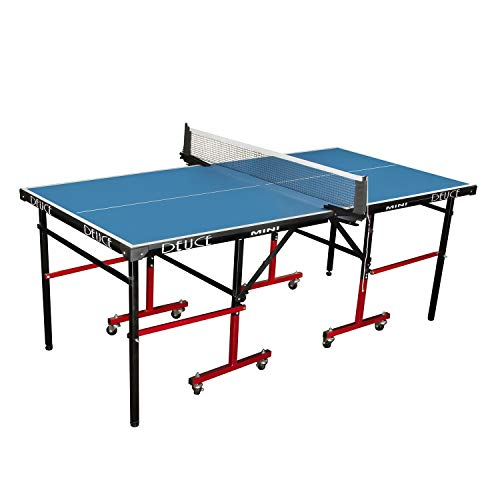 Fieldsheer DEUCE Mini Table Tennis Table 6*3 feet with 18 mm Both Side Laminated top and 50 mm Wheel (2 TT bat, 3 Balls and 1 Cover)