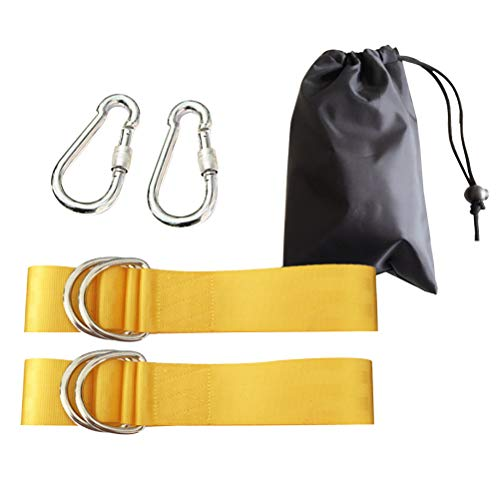 LIOOBO Swing Hanging Rope Hammock Tree Swing kit Strap with Carabiner for Camping Outdoor 5x120cm (Yellow)