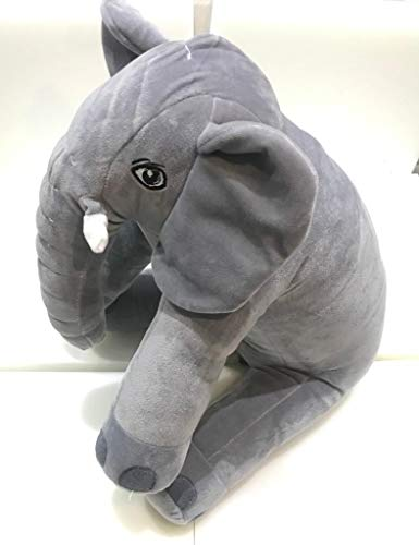 URBAN PLANET Big Size Fibre Filled Stuffed Animal Elephant Soft Toy for Baby of Plush Material Hugging Pillow for Toddlers (60 cm, Grey)
