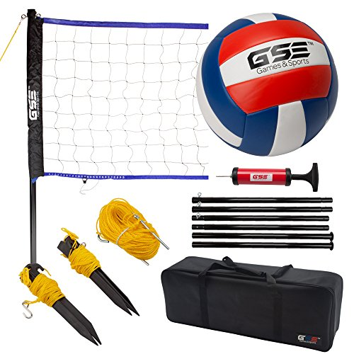 GSE Games & Sports Expert Portable Volleyball Set. Including Volleyball Net System and Volleyball with Pump (Recreational)