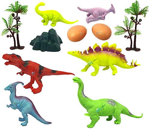 FunBlast Realistic Dinosaur Toy Set of 6 Pcs - Dinosaurs Animals Figures Toys Set with Tree and Eggs for Kids/Boys- Multicolor