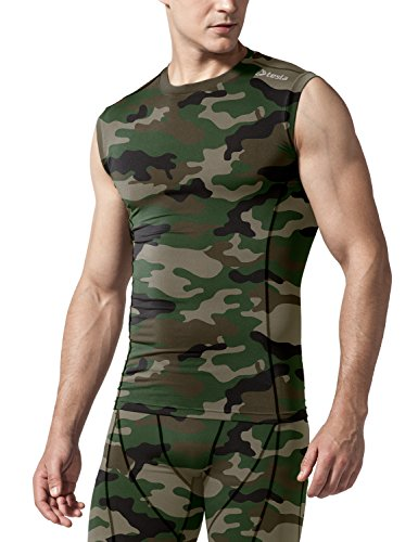 TSLA Men's Sleeveless Workout Shirts, Dry Fit Running Compression Cutoff Shirts, Athletic Training Tank Top, Round Neck Top Camo Olive, XS