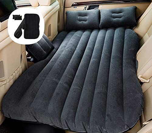 SNJV GRG Car Travel Camping Inflatable Air Mattress with Air-Pump, Portable Car Travel Bed with Two Pillows Fits Most Car Models for Camping Travel, Hiking and Outdoor Activities (Black, Grey, Beige)