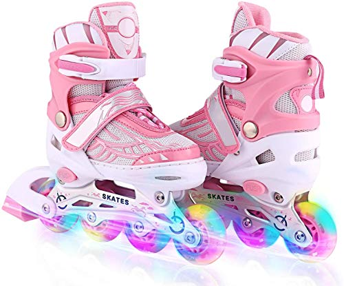 Deoxys Adjustable Inline Skates for Kids and Adults with Full Light Up Wheels , Outdoor Roller Skates for Girls and Boys, Men and Women (Pink)