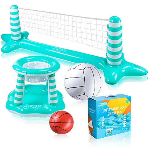 Joyjoz Inflatable Pool Float Set, Pool Volleyball Set Include Volleyball Rack, Volleyball, Basketball Hoop and Ball, Floating Swimming Pool Toy Pool Games Pool Accessories for Kids and Adults
