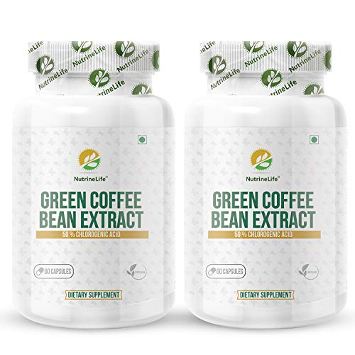 NutrineLife Pure and Natural Green Coffee Bean Extract Capsules Weight Loss For Men And Women, Natural Supplements for weight management and Appetite Suppressant, 800 Mg, 50% Chlorogenic Acid, 60 Veg Capsules (Pack of 2)