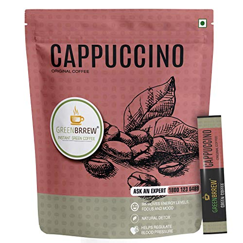 Greenbrrew Cappuccino Original Green Coffee, Instant Coffee Beverage Premix for Weight Management - (30g, 20 Sachets)