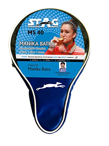 STAG Manika Batra MS-40 Wooden Rubber Beginner Table Tennis Racquet, ITTF Approved (186 grams, Multicolour)