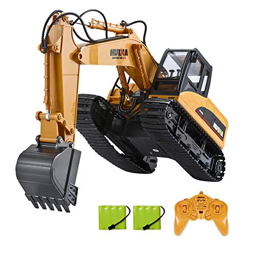 TEMA1985-Remote Control Excavator Toys for Boys 15 Channel 2.4G Full Function Rc Construction Vehicles with Metal Shovel