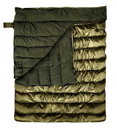 RhinoKraft Olive Fleece Double Big Sleeping Bag ! Perfect for Camping   Queen Size ! Temp 0 Degree ! Will Keep You Warm and Cozy  