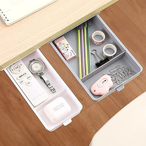 Ma Meldi CREATION Under Desk Drawer,Hidden Drawer Storage Box,Tray Mini Desk Organizer Expandable Drawer Tray Self-Stick Pop-Up Hanging Drawer for Pencil,Pen,Office Items - 1 PCS