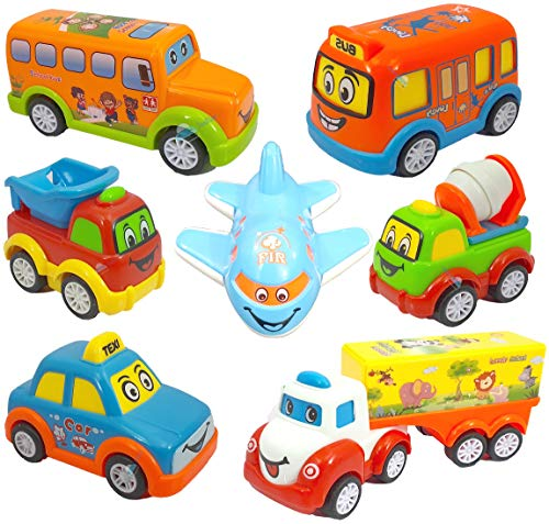 FunBlast Plastic Kids Pull Back Vehicles, Push and go Crawling Toy Car for Kids & Children, Friction Powered car Toy for 3+ Years Old Boys|Girls (Set of 7), Multi color