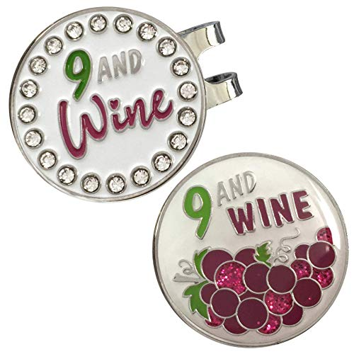 Flamingo Creek Bling Golf Ball Marker and Hat Clip Nine and Wine Womens Golf Gift Set Includes 2 Golf Ball Markers 1 Hat Clip (Crystal 9 and Wine Set)