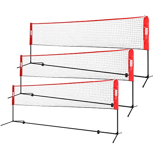 VIVOHOME Portable 17ft Height Adjustable Outdoor Badminton Net Set with Stand and Carry Bag for Volleyball Soccer Tennis Pickleball Red