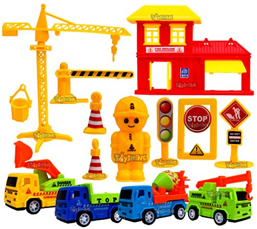 Toyshine Plastic Friction Powered Construction Automobile Car Vehicle Play Set Toy with Accessories (Multicolour) - Set of 4