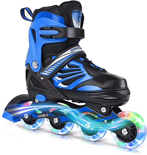 Deoxys Sports Kids Inline Skates for Girls & Boys - Adjustable Roller Blades with LED Illuminating Light Up Wheels - Youth Skates Can Be Used Indoors & Outdoors{DE-01} (Blue)