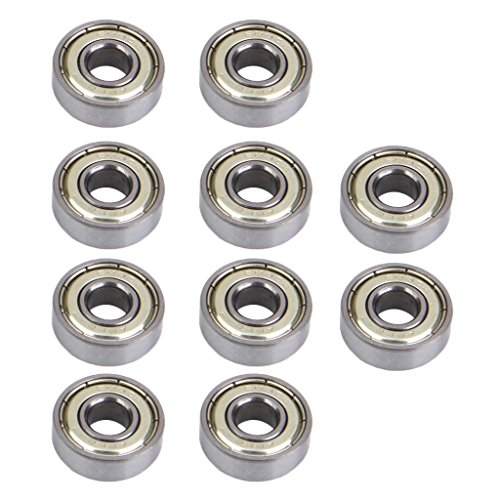 Phenovo 10 Pcs Inline & Roller Skate Bearings 608 zz (ABEC-7), Speed Skating Scooters, Silver