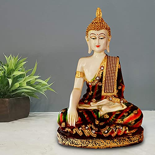 Sacred Blessings Polyresin Multicolour Sitting Buddha Statue Showpiece Idol for Home Decor (16 x 10 x 26) cm, 1Piece