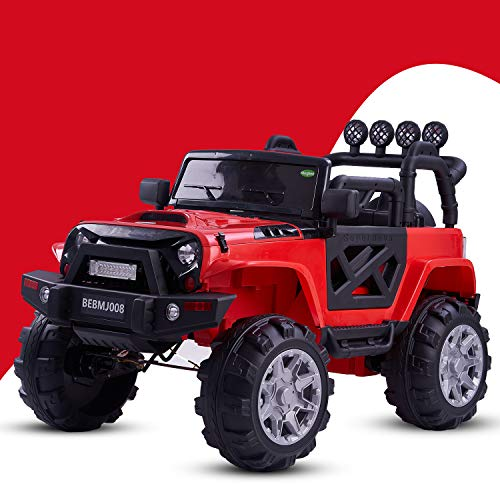 Baybee Rover Axle Rechargeable Battery Operated Ride on car Jeep Toy for Kids Music|Kids car Parent Remote Control Electric RC Ride On Car|Baby car for Kids Boys & Girls (White) (Red)
