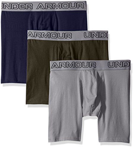 Under Armour Men's Charged Cotton Stretch 6' Boxerjock 3-Pack, Artillery Green/Midnight Navy/Steel, XX-Large