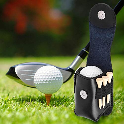 Golf Tee/Ball Holder Pouch Bag, PU Golf Ball Bag Holder Clip Utility Pouch Sports Golfing Tackle Set with Balls Tees, for Men Women(Black)