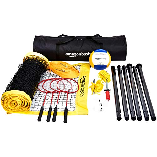 Amazonbasics Outdoor Volleyball And Badminton Combo Set With Net, Steel, Multicolour