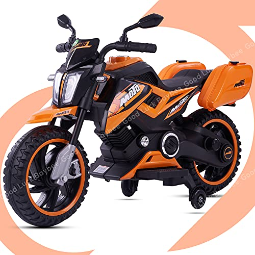 GoodLuck Baybee Moto Sports Electric Motor Bike 6V Rechargeable Battery Operated Motorcycle Ride on Bike-Ride on Kids- Kids to Drive Toy Bike Suitable for for Boys, Girls Age for 1-3 Years (Orange)
