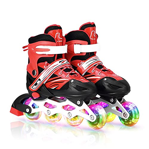 MRUD Adjustable Inline Skating Sports Shoes for Childrens Comfertable Roller Skate for Outdoor Fun with Roller Skates for 5 to 16 Yrs Boys and Girls with Red Color(Size 35-38 cm)