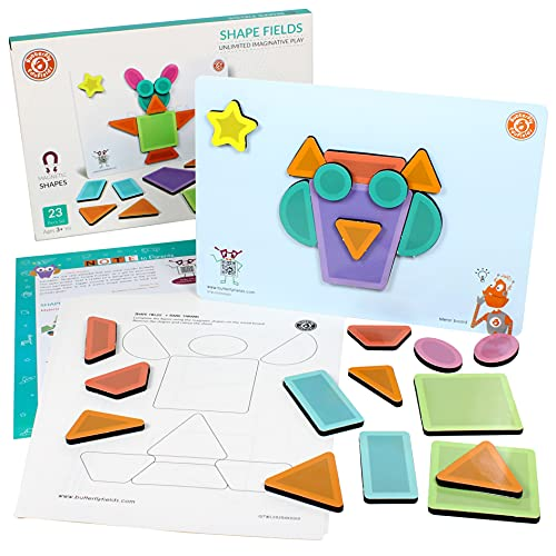 ButterflyEdufields Magnetic Shapes Puzzles Fidget Toys for 2+ Year Old Kids, 23 Pieces Magnets | Stress Relief Learning Educational Made in India Gift for Boys Girls