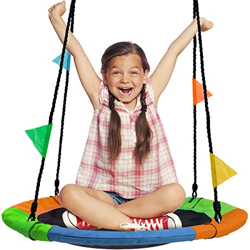 Sorbus Saucer Tree Swing in Multi-Color Rainbow – Kids Indoor/Outdoor Round Mat Swing – Great for Tree, Swing Set, Backyard, Playground, Playroom – Accessories Included (Round â