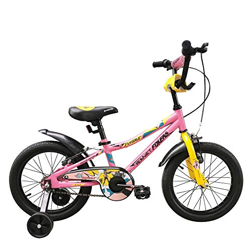 Firefox Bikes Flydale Light Weight Anti-Skid Pedal Power Brake Seat Height Adjustment Cycle for 5-7 Years Kid, Frame 8.5 inches, 16 inches Wheel, (Pink and Yellow)