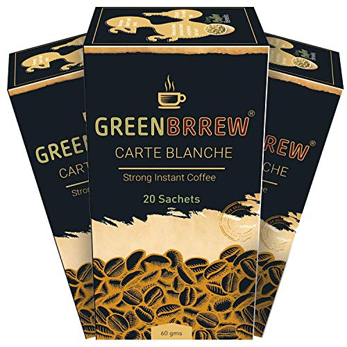 Greenbrrew Instant Green Coffee 'STRONG FLAVOR' for Weight loss - 20 Sachets/ Per Pack (60g x Pack of 3)