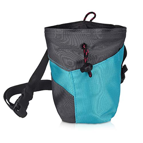 Navaris Chalk Bag for Rock Climbing - Bag for Chalk and Magnesium Carbonate with Drawstring and Pocket - for Bouldering, Gymnastics, Weightlifting