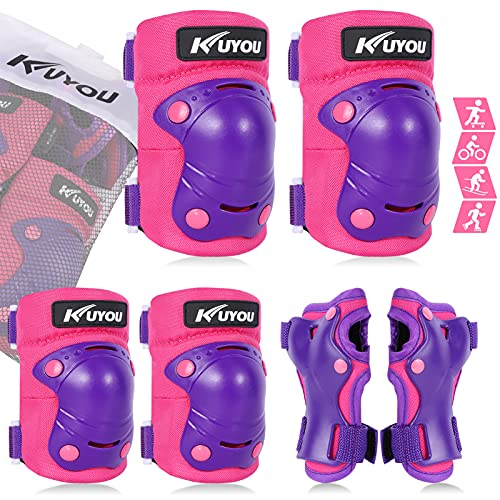 KUYOU Protective Gear Set Knee Elbow Pads Wrist Guards 3 in 1 for Skateboarding Inline Roller Skating Cycling Biking BMX Ski Scooter