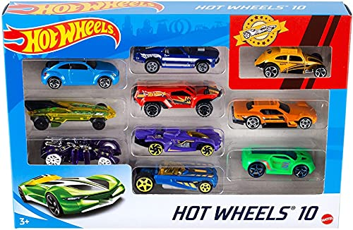 Hot Wheels 10 Cars Gift Pack, Assorted Metal Cars, Multicolor