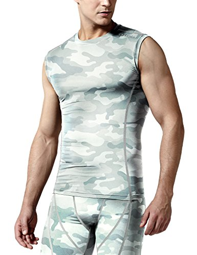 TSLA Men's Sleeveless Workout Shirts, Dry Fit Running Compression Cutoff Shirts, Athletic Training Tank Top, Round Neck Top Camo Light Grey, S