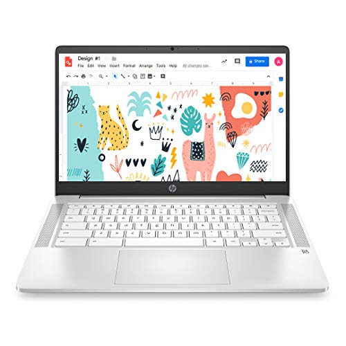 HP Chromebook Thin & Light 14-inch (35.6 cm) Touchscreen Laptop (Celeron N4020/4GB/64GB eMMC + 256GB Expandable Storage/Chrome OS/Integrated Graphics), Ceremic White), 14a-na0002TU