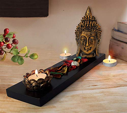 TIED RIBBONS Buddha Head Statue Tealight Candle Holder with Tray Set for Wall Shelf Decoration Table Home Decor Items for Living Room