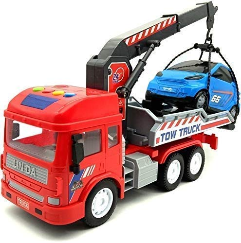 WISHKEY Friction Powered Tow Truck with Mini Car, Push & Go Crawling Towing Vehicle Carrier Car Play Set for Kids & Toddlers 3 Years & Above ( Pack of 1, Multicolor)