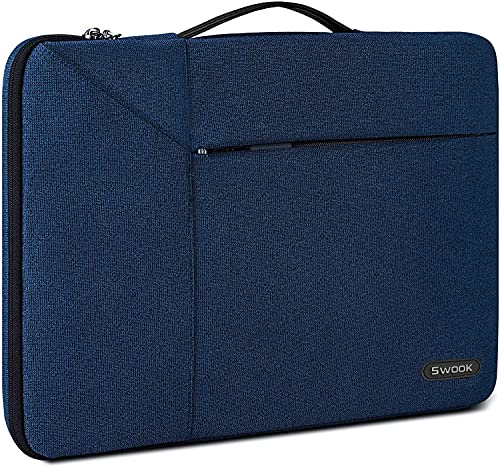 Swook Laptop Sleeve For 13 Inch /13.3 Inch 14 Inch Laptop Case 360 Protective Laptop Work Briefcase Bag Compatible with 13' MacBook Air/Pro,13-14 inch Acer/ASUS/HP/Lenovo/Dell Notebook, (13-14 Inch, Navyblue)