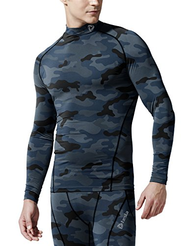 TSLA Men's Cool Dry Fit Long Sleeve Compression Shirts, Active Sports Base Layer T-Shirt, Athletic Workout Shirt, BLM Edition(t11) - Camo Blue, L