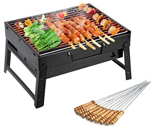 MAHAVIR FASHION Folding Portable Outdoor Barbeque Charcoal BBQ Grill Oven Black Carbon Steel, Black