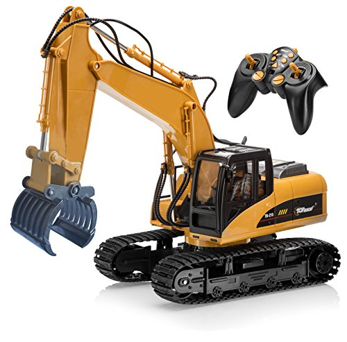 Top Race® 15 Channel Remote Control RC Fork Excavator, Construction Grapple Fork Tractor ~ Metal Fork ~ (TR-215)