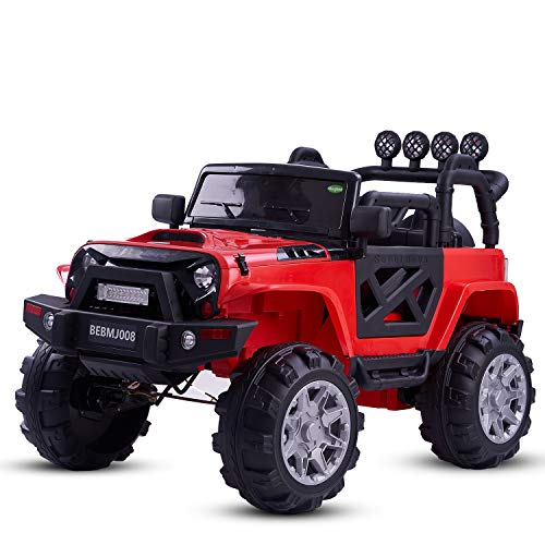 Baybee Rover Axle Rechargeable Battery Operated Ride on car Jeep Toy for Kids Music|Kids car Parent Remote Control Electric RC Ride On Car|Baby car for Kids Boys & Girls 2 to 8yrs (Red)