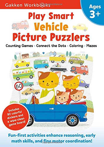 Play Smart Vehicle Picture Puzzlers Age 3+: Preschool Activity Workbook with Stickers for Toddlers Ages 3, 4, 5: Learn Using Favorite Themes: Tracing, ... Matching Games (Full Color Pages): Volume 13