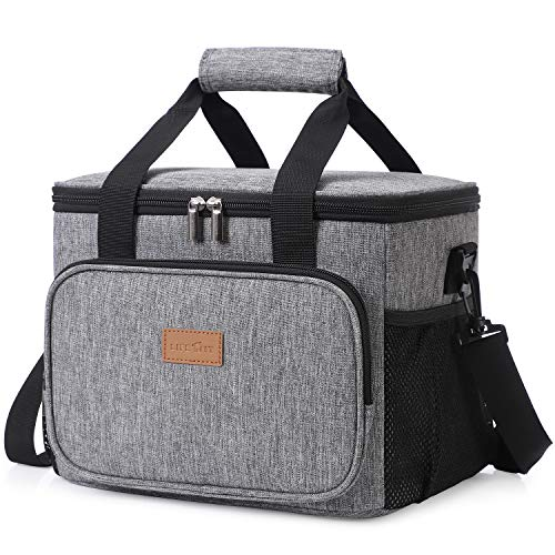Lifewit 24-Can Large Cooler Bag Insulated Lunch Bag, Soft Cooler Bag for Beach/Picnic/Camping/BBQ, Grey